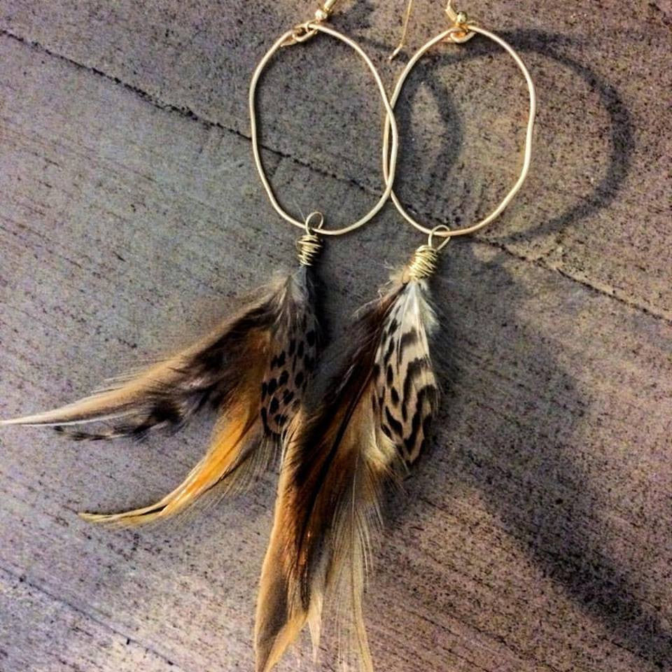 Rooster and Duck Feather Hoops // made in Charleston, SC