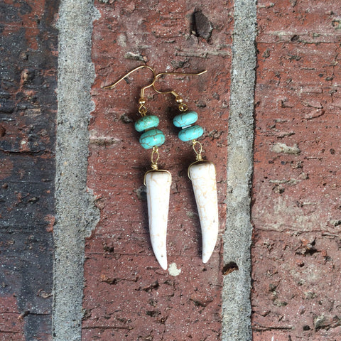 Turquoise and White Howlite Tusk Dangle Earrings // made in Charleston, SC
