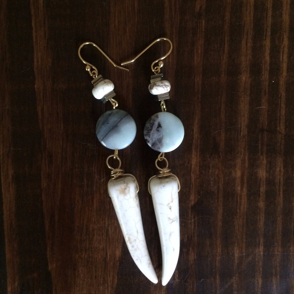 White Howlite Tusk Dangle Earrings // made in Charleston, SC