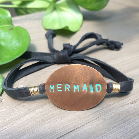 Mermaid Handstamped Slipknot Bracelet with Deerskin Lace // made in Charleston, SC