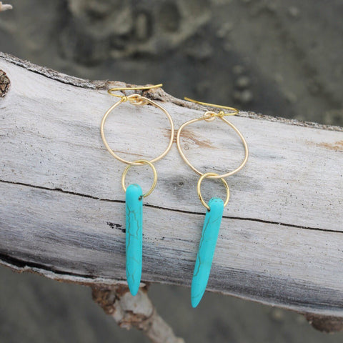 Turquoise Howlite Single Spike Hoops // made in Charleston, SC