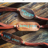 Saltwater Siren Handstamped Slipknot Bracelet with Brown Suede // made in Charleston, SC