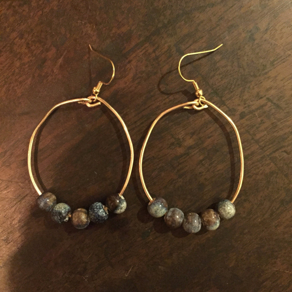 Mosaic Ceramic Gold Hoop Earrings // made in Charleston, SC