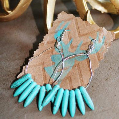 Silver and Turquoise Spike Handwired Hoop Earrings