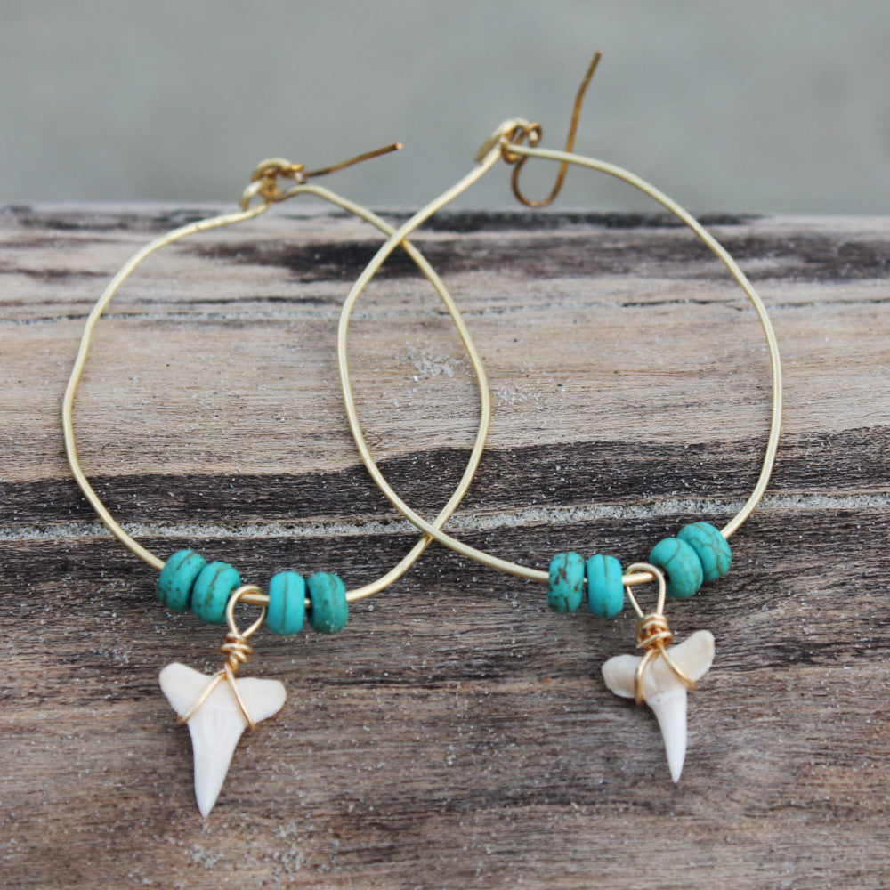 Turquoise Shark Tooth Gold Plated Hoops