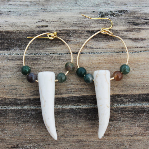 Faux Tusk Hoops with Indian Jasper Gemstones // made in Charleston, SC
