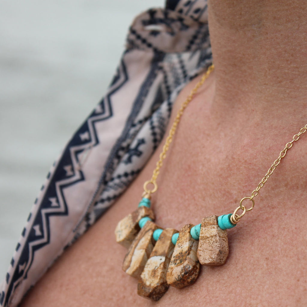 14kt Gold Filled Picture Jasper and Turquoise Heishi Fan Necklace // made in Charleston, SC