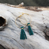 Teal Suede Tassel Hoops // made in Charleston, SC