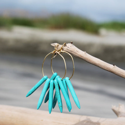 Turquoise Howlite Long Spike Hoops // made in Charleston, SC