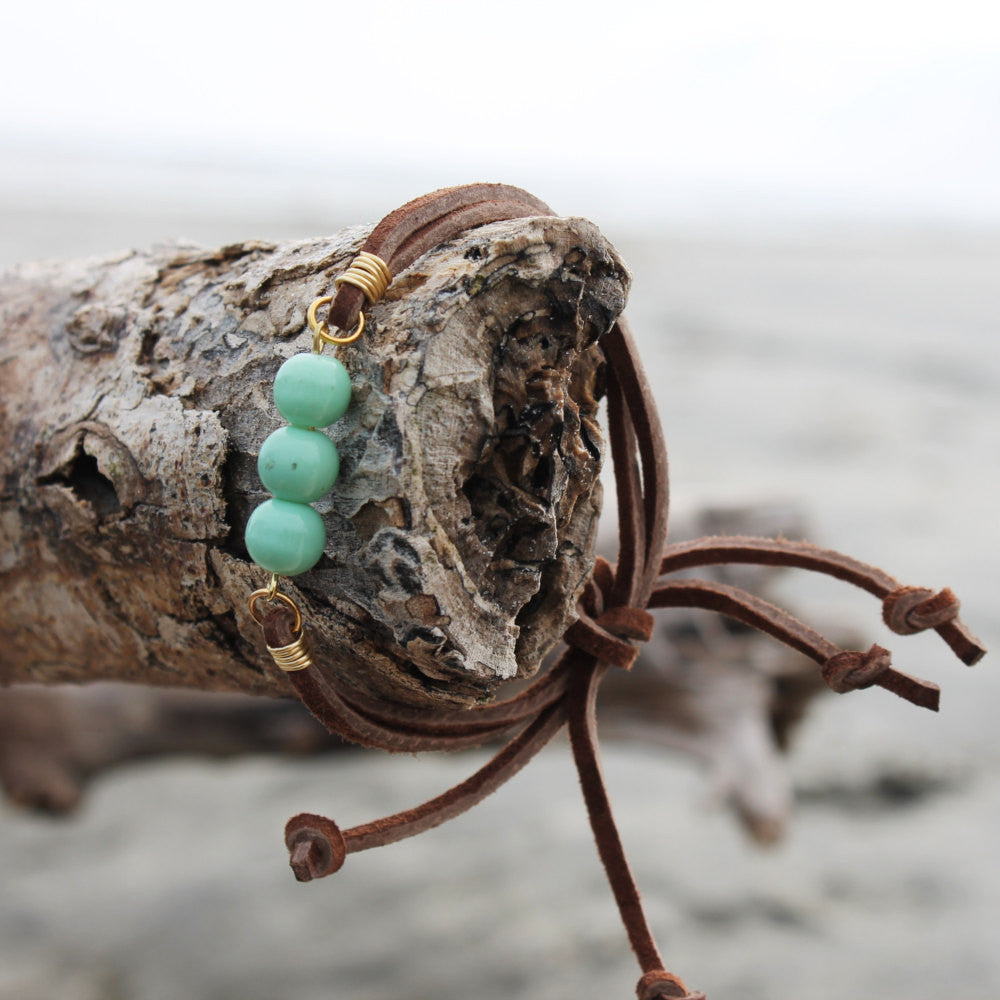 Seafoam Green Bead and Brown Suede Slipknot Bracelet // made in Charleston, SC