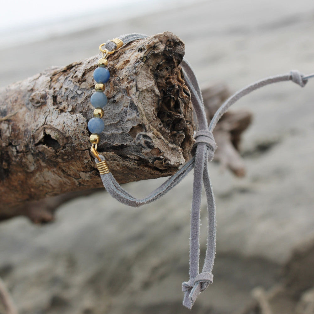 Sodalite Blue and Gray Suede Slipknot Bracelet // made in Charleston, SC