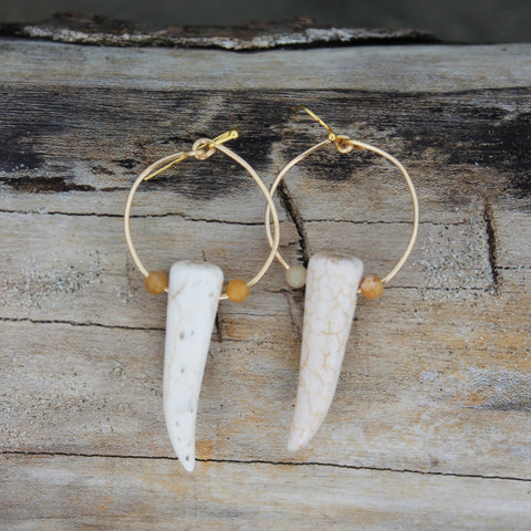 Faux Tusk Hoops with Yellow Jasper Gemstones // made in Charleston, SC