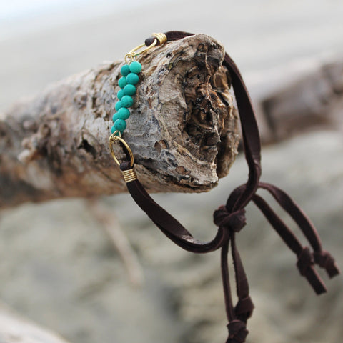 Turquoise + Brown Deerskin Lace Slipknot Bracelet // made in Charleston, SC