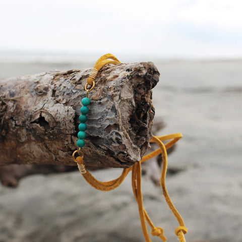 Turquoise Yellow Suede Slipknot Bracelet // made in Charleston, SC