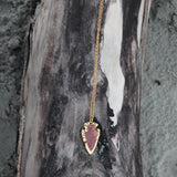 Gold Electroplated Agate Arrowhead Necklace with 18kt Gold Filled Chain // made in Charleston, SC