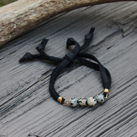 Dalmatian Jasper + Black Deerskin Lace Slipknot Bracelet// made in Charleston, SC