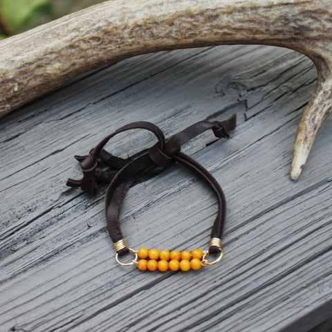 Yellow Jasper Deerskin Lace Slipknot Friendship Bracelet  // made in Charleston, SC