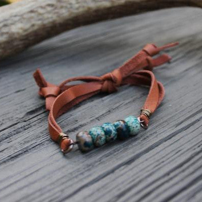 Blue Chrysocolla Stack Bracelet with Camel Deerskin Lace // made in Charleston, SC