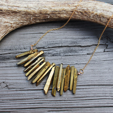 14kt Gold Filled Titanium Gold Slab Necklace // made in Charleston, SC