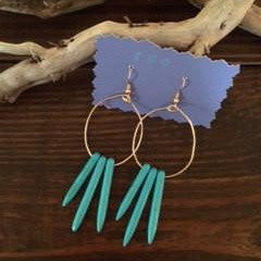 Turquoise Howlite Three-Spike Fan Hoops // made in Charleston, SC