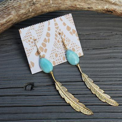 Amazonite Teardrop and Gold Feather Earrings // made in Charleston, SC