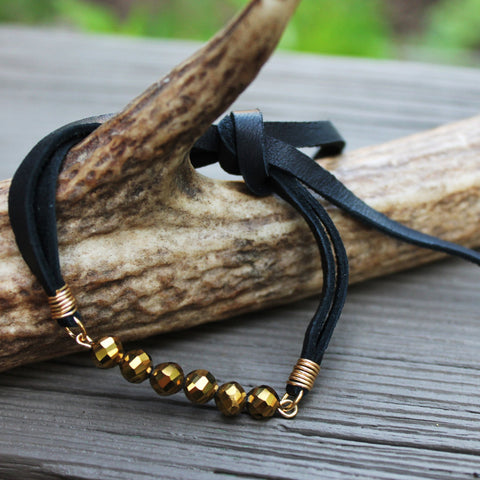 Titanium Gold Faceted Beaded Bracelet with Black Deerskin Lace  // made in Charleston, SC