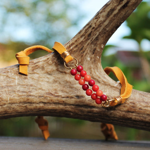 Red Coral Beaded Slipknot Bracelet with Mustard Yellow Deerskin Lace // made in Charleston, SC