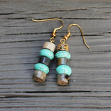 Turquoise and Jasper Dangle Earrings // made in Charleston, SC