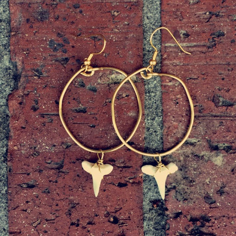 Thick Circle Gold Shark Tooth Hoops // made in Charleston, SC