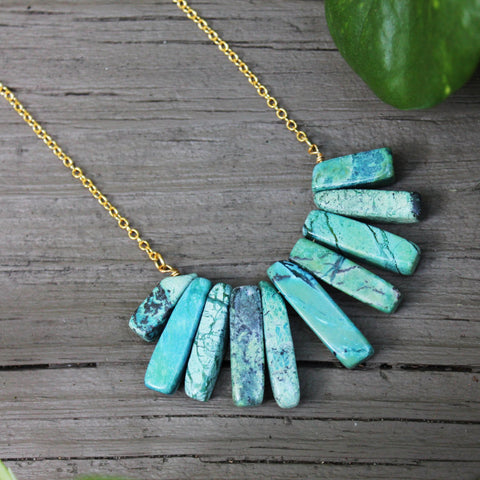 14kt Gold Filled Turquoise Japser Mermaid Tail Necklace // made in Charleston, SC