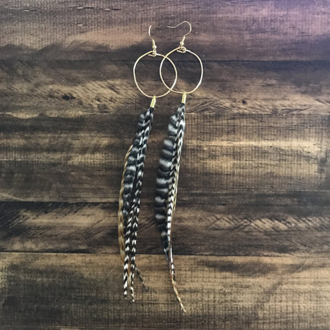 Dainty Rooster Tail Feather Hoops // made in Charleston, SC
