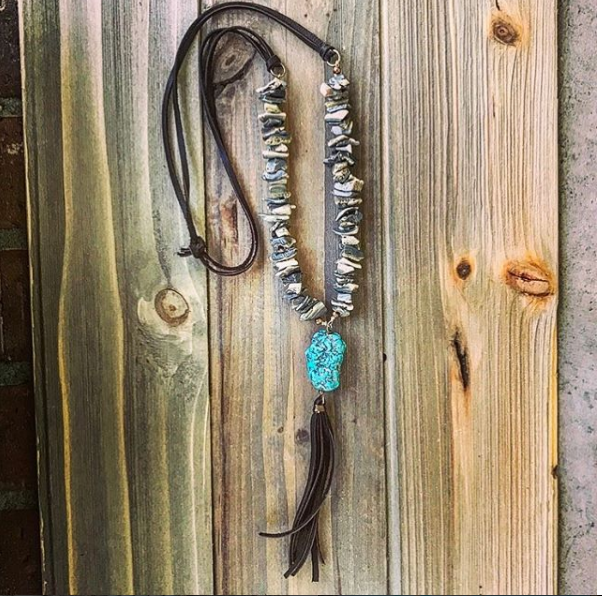 Turquoise Howlite Deerskin Lace Tassel Necklace  // made in Charleston, SC