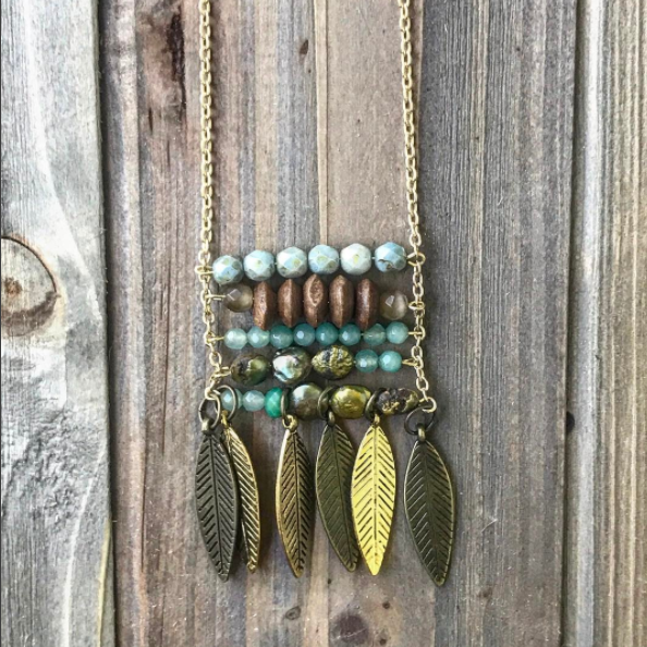 Horizontal Beaded Gold Quilt Necklace // made in Charleston, SC