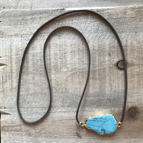Suede Electroplated Turquoise Howlite Necklace // made in Charleston, SC