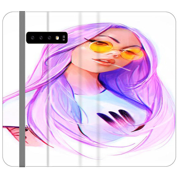 A Purple Hair Girl Draw Samsung Galaxy S10 Flip Case | Frostedcase