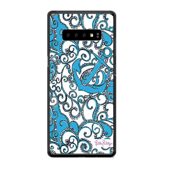 Anchor Pattern Carving Blue Lilly Pulitzer Samsung Galaxy S10e Case | Frostedcase