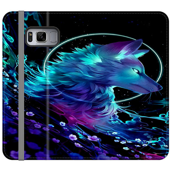 Cosmic Wolf Of Galaxy Samsung Galaxy S8 Plus Flip Case | Frostedcase