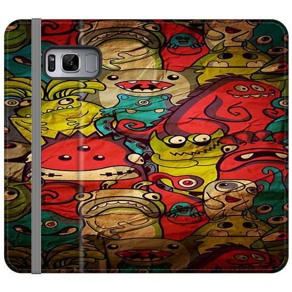 Doodle Monster Wall Art Samsung Galaxy S8 Plus Flip Case | Frostedcase