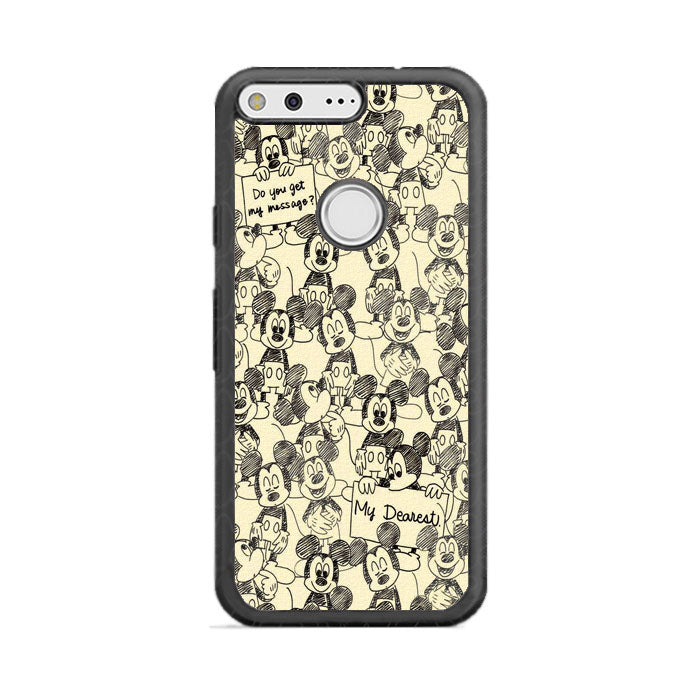 Mickey Mouse Pattern Canvas Silhouette Google Pixel XL Case | Frostedcase