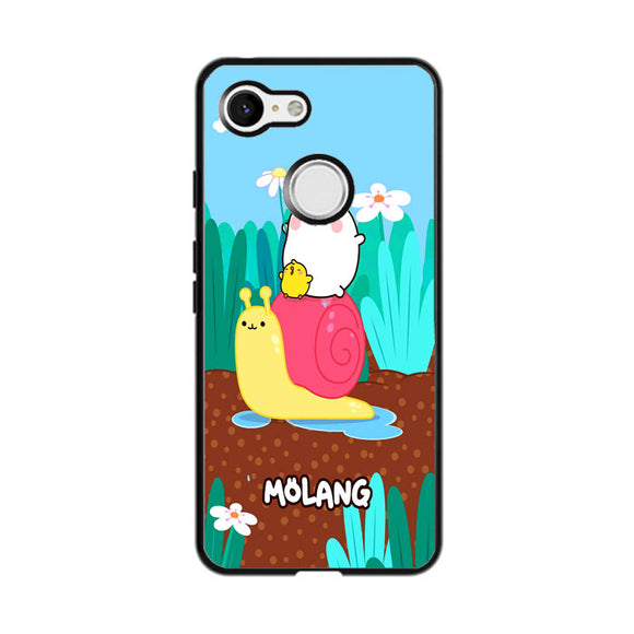 Molang And Piu-Piu Ride A Snail Google Pixel 3 Case | Frostedcase