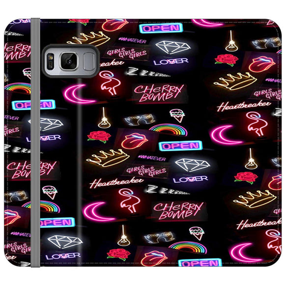Pattern Neon Summer Aksesoris Collection Samsung Galaxy S8 Flip Case | Frostedcase