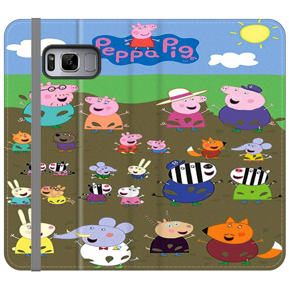 Peppa Pig Character In The Rice Field Samsung Galaxy S8 Plus Flip Case | Frostedcase
