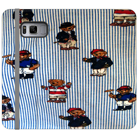 Polo Bear Linen Blue White Collection Samsung Galaxy S8 Plus Flip Case | Frostedcase