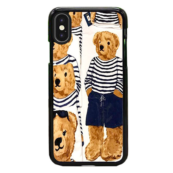 Polo Bear Pattern Blue White Stripe iPhone XS Case | Frostedcase