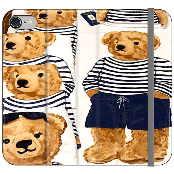 Polo Bear Pattern Blue White Stripe iPhone 7 Flip Case | Frostedcase
