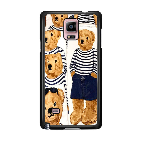 Polo Bear Pattern Blue White Stripe Samsung Galaxy Note 4 Case | Frostedcase