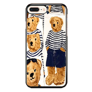 Polo Bear Pattern Blue White Stripe iPhone 8 Plus Case | Frostedcase