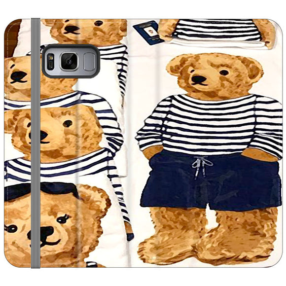 Polo Bear Pattern Blue White Stripe Samsung Galaxy S8 Flip Case | Frostedcase