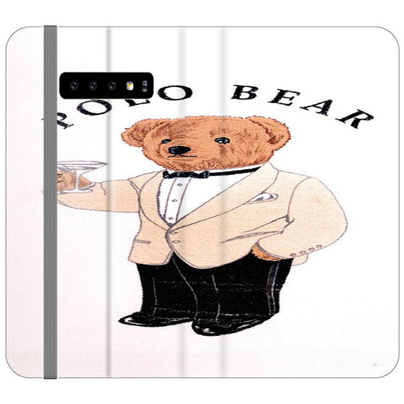 Polo Bear White Suit Samsung Galaxy S10 Flip Case | Frostedcase