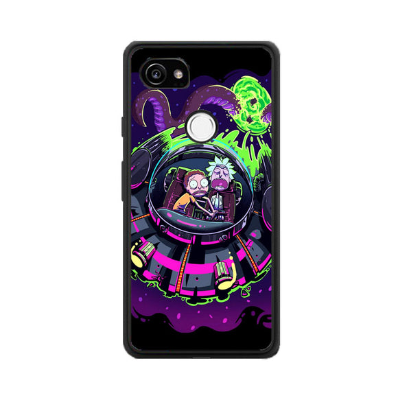 Rick And Morty Alien Flying Saucer Purple Google Pixel 2 Case | Frostedcase
